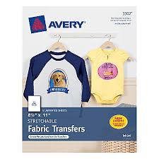 avery personal creations stretchable t shirt transfers pack of 5