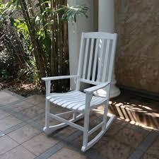 white wood rocking chair outdoor porch rocker deck garden seat