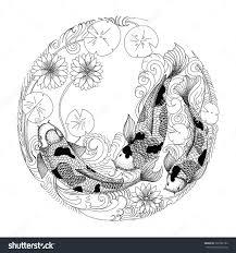 hand drawn koi fish in circle japanese carp line drawing coloring