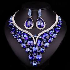 blue crystal necklace set images New luxury gold plated blue crystal dubai bridal jewelry set for jpg