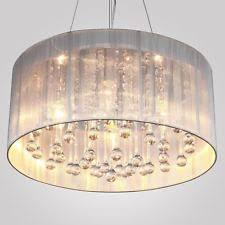 white drum light fixture drum shade crystal ceiling chandelier pendant light fixture lighting