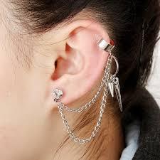cuff earrings with chain hot selling girl stylish rock rivet chain tassel dangle ear