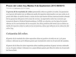 imagenes positivas para hoy martes precio del cobre hoy martes 8 de septiembre 2015 08 09 15 youtube