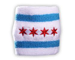 sweat band chicago flag wristband white custom sweat