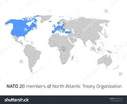 Blank World Map With Countries by 28 Nato Member Countries Highlighted By Stock Vector 345891266