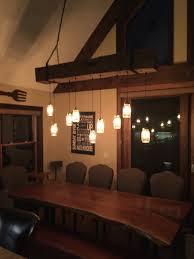 Rustic Modern Design Reclaimed Barn Beam Light Fixture With Edison Bulbs And Mason Jars