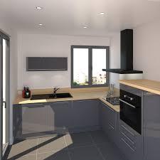 cuisine bois gris petit coin cuisine meubles couleur bleu gris et finition brillante