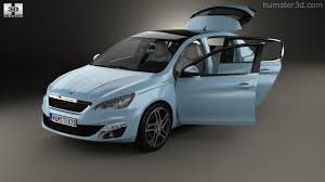 peugeot 2014 360 view of peugeot 308 hatchback with hq interior 2014 3d model