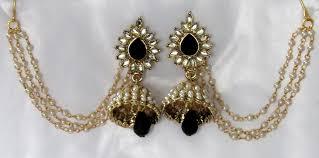 jhumka earrings with chain buy black drop jhumka with pearl ear chain earring online