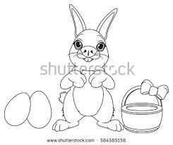 coloring easter bunny painting egg stock vector 47556784