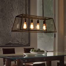 Rectangular Iron Chandelier Loft Retro Glass Box Iron Chandelier Lamp Coffee Rectangular