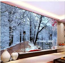 online get cheap woods scene wallpaper aliexpress com alibaba group home decoration 3d stereoscopic wallpaper 3d woods snow scene living room tv backdrop custom wall mural
