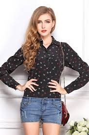 black button up blouse black anchor print button up sleeve shirt womens shirts