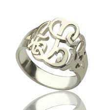 monogramed rings personalized drawing monogrammed ring silver