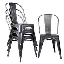 Tolix Bistro Chair 4x Tolix Gun Metal Brushed Metal Cafe Bistro Industrial Vintage
