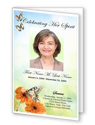 beautiful funeral programs funeral program template butterfly template