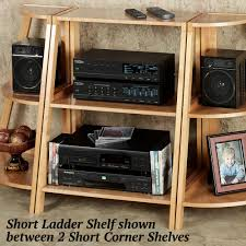 Short Ladder Bookcase kimber natural oak corner and ladder shelves
