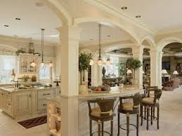 elegant french country kitchen design with nice chandelier as