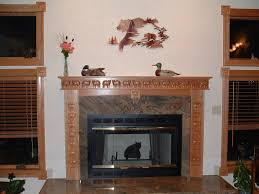 decorating oak wood fireplace mantel kits plus nice book case and