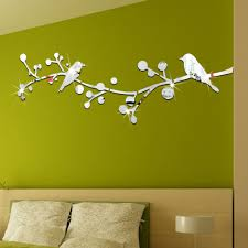 compare prices decorative sticker mirror online shopping buy bird and branch shape crystal mirror wall stickers living room background home decor self adhesive