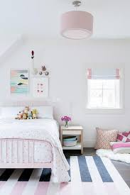 Pink And White Rug Pink Metal Bed With Pink And Black Striped Rug Transitional