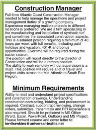 Sample Resume For Construction Superintendent by Construction Job Description Sample Commercial Construction