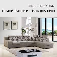 canape d angle tissu gris canapé d angle en tissu gris fleuri salon meubles maison le