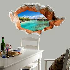 Wall Sticker Warehouse 2018 3d Hole Seaside Scenery Floor Sticker Waterproof Wall Decal