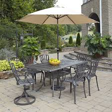 Patio Furniture Dining Sets With Umbrella - home styles biscayne black 7 piece swivel patio dining set 5554