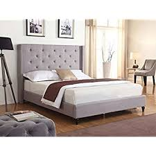 How To Make A Platform Bed With Headboard by Amazon Com Baxton Studio Hirst Platform Bed King Gray Kitchen