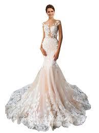 buy wedding dress buy 2018 mermaid illusion chapel cap sleeves tulle ivory