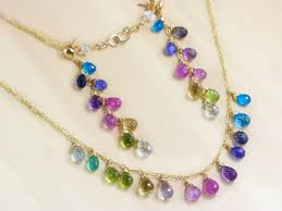 gold filled necklace set images Multi gemstone colorful rainbow necklace and earrings wire wrapped jpg