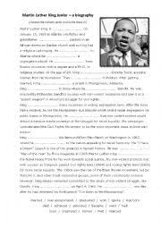 biography for martin luther king english exercises martin luther king jr past simple