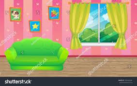 Livingroom Cartoon Vector Cartoon Game Background Pink Room Stock Vector 393162634