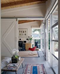 new york sliding barn door exterior rustic with stepping stones