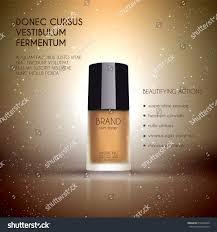 glamorous foundation ads glass bottle foundation stock vector