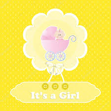 baby shower card for baby yellow polka dot background with