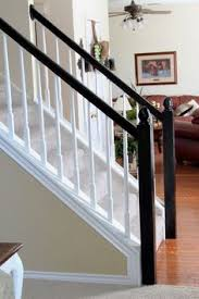 Stair Banisters Railings How To Paint An Oak Stair Railing Black And White Home Hacks