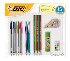 stationery set bic student stationery kit pack of 15 co uk office products