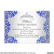 Sweet 16 Photo Invitation Cards Blue Silver Damask Tiara Sweet 16 Invitation Invitation Cards
