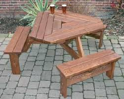 wooden 8 u0027 split bench picnic table attached bench picnic tables