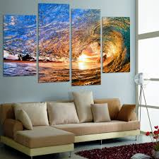 no frame canvas only 4 pieces sunset on the beach with ocean