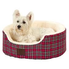 Washable Dog Beds Bunty Heritage Tartan Soft Fur Fleece Dog Bed Washable Pet Basket