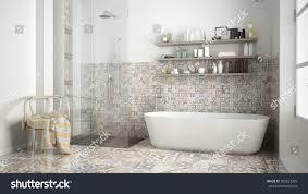 scandinavian bathroom classic white vintage interior stock