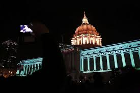 sf city hall lights why is sf city hall lit up in pink and blue sfgate