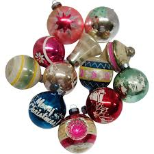 12 vintage american made glass ornaments from