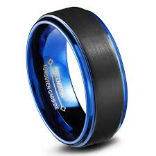 mens black wedding rings queenwish blue tungsten wedding bands black matte classical