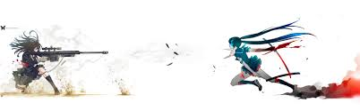 anime wallpapers girls sword fighting download wallpapers download 3360x1050 guns black rock shooter