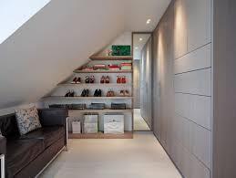 sloped closet wall closet london with plastic acrylic shelf dividers