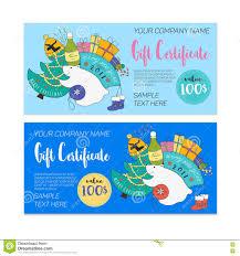 kids 2017 christmas gift certificate stock vector image 75264882